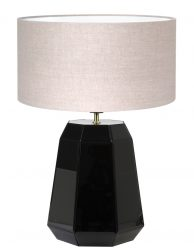 Zwarte vaaslamp met beige kap-8495ZW